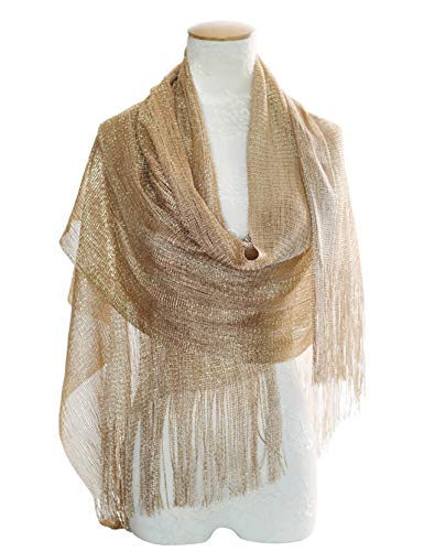 MissShorthair Womens Wedding Evening Wrap Shawl Glitter Metallic Prom Party Scarf with Fringe(Champagne Gold)