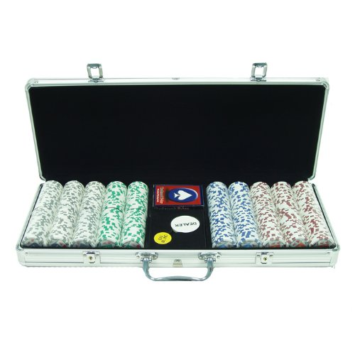 Trademark Poker 4 Aces Poker Chip Set with Aluminum Case, 11.5gm, Silver ()
