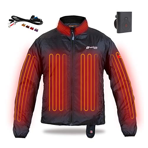 - Venture Heat 12V Motorcycle Heated Jacket Liner with Wireless Remote - 75.0W Deluxe Motorcycle Jacket for Men and Women