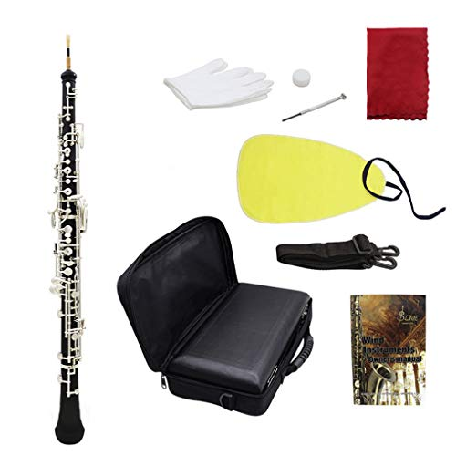 (Loria Professional Oboe C Key Cupronickel Plated Silver with Gloves Cleaning Cloth Screwdriver Leather Case Bag Strap)