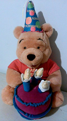 Disney Singing Plush WINNIE the POOH & HAPPY BIRTHDAY Cake with Light up Candles - Cake Birthday Bear Pooh
