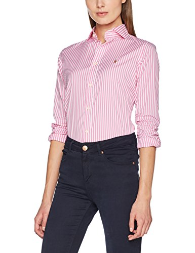 Polo Ralph Lauren Brw Kendal-Long Sleeve-Shirt, Blusa para Mujer Mehrfarbig (303I Spring Pink/White Xw9A9)