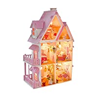 Kimbird Doll House 3 Storey Villa, DIY Princess Room, Can Build Miniature Doll House Kit, Complete Accessories Can Shine, Puzzle Handmade Toys 3D Puzzle