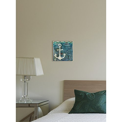 Beach Blue Decor 12' Sign (12' x 12' Blue Grey Anchor Pattern Wall Art Rectangle, Teal Green Beach Theme Wood Plaque Boating Sailor Boat Themed Hanging Picture Arts Coastal Nautical Tropical Sailing Ocean Sea Boats, Metal Wood)