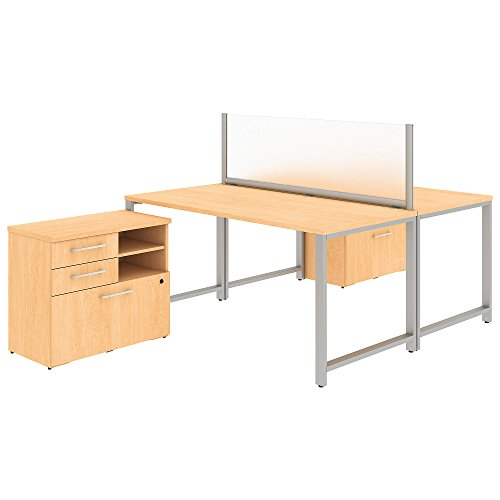 Bush Natural Maple - Bush Business Furniture 400 Series 60W x 30D 2 Person Workstation with Table Desks and Storage in Natural Maple