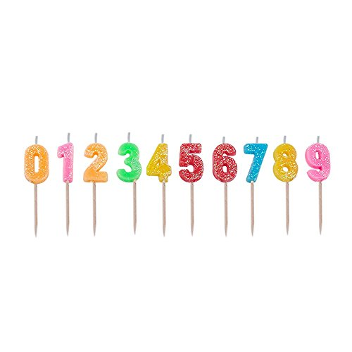 Multicolor happy birthday candles, 0-9 molded number candles for party time special day funny candles make a wish candles for adults and Kids-Willcan brand (Multicolor with glitter and sparkling)