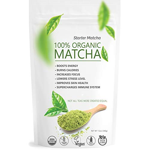 (Starter Matcha Green Tea Powder 12oz (340g) USDA Organic Matcha - 100% Pure & Natural Energy Boost - Vegan & GMO-Free - Culinary Matcha Tea (Shakes, Smoothies, Lattes, Baking))
