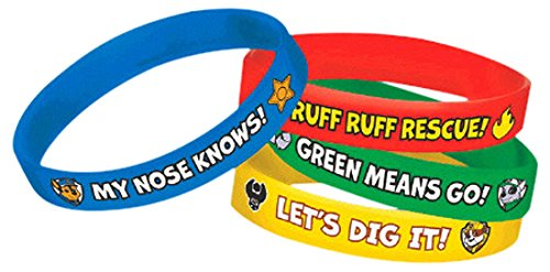 Amscan PAW Patrol Rubber Bracelets, Saver Pack of 6 (Each Includes 4 Pieces), Made from Rubber, Multicolor, 2 1/2'' x 7/16'' by Amscan