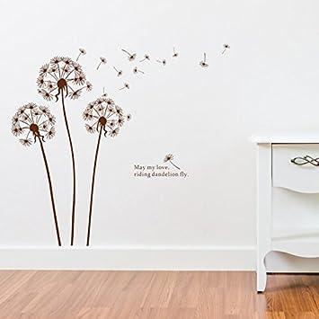 Denoda® Pusteblume Braun   Wandsticker (Wandsticker Wanddekoration Wohndeko  Wohnzimmer Kinderzimmer Schlafzimmer Wand Aufkleber)