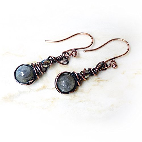 Handmade Labradorite & Copper Dangle Beaded Earrings - Rustic Antique Copper Wire Wrapped Natural Genuine Gemstone Bead Drop Earrings - One-of-a-Kind Gift for Women, Birthday Gift, Mother