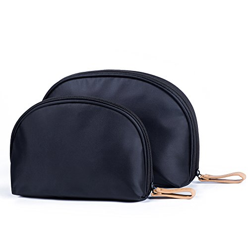 Black Small Travel Handy Makeup Cosmetic Bags Organizer Set of 2 For Purse For Women Teens Girls(2 of pack) ()