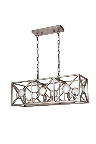 Rectangular Nickel Chandelier (Dst Retro Rectangular Pendant Island Light, Antique Nickel Paint Chandelier Ceiling Light for Kitchen, Living room, Island and so on, Size: L: 78.6cm/30.94
