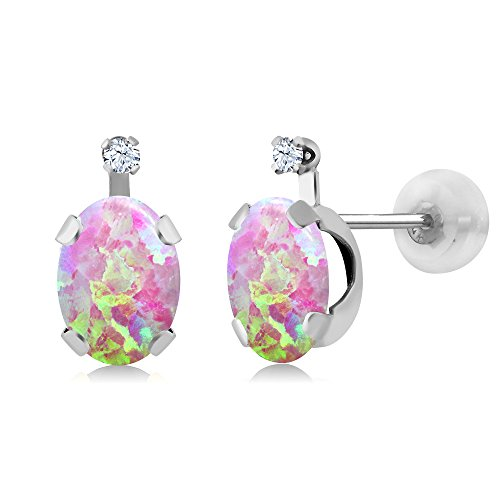 Gem Stone King 1.28Ct Cabochon Pink Simulated Opal and Created Sapphire 14K White Gold Earrings