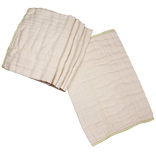 Fold Cloth Diaper - OsoCozy - Bamboo Organic Prefolds (6 Pack) - Ultra Soft, Bamboo Cotton Blend Baby Diapers - Eco-Friendly and Antimicrobial - Diaper Service Quality (DSQ) (15-30 lb.) (Premium 4x8x4)