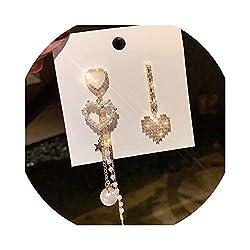 Gold Rhinestone Heart Drop Earrings for Women