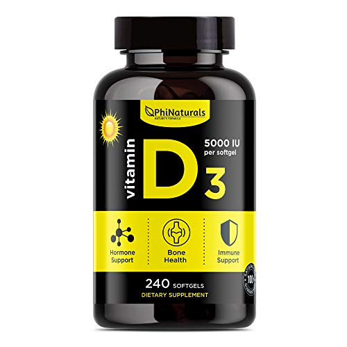 Vitamin D3 5000 IU - Extra Virgin Olive Oil for Maximum Absorption - Sunshine Vitamin for Immune and Mood Support - Cholecalciferol from Lanolin for Healthy Bones Muscle Teeth [240 Softgels]
