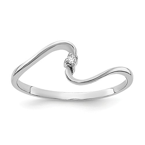 14k White Gold Polished .01ct. Diamond Ring Mounting Size 6.5 Length Width 1. Mounting ONLY! No Stone