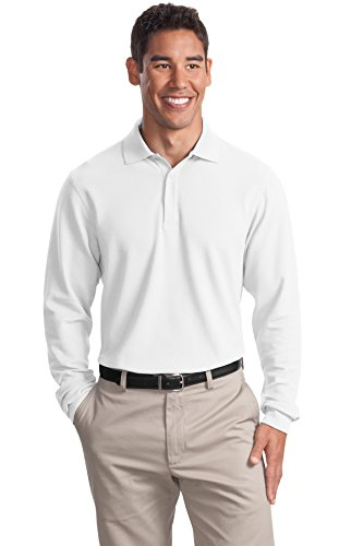 Port Authority Men's Long Sleeve EZCotton Pique Polo XL White