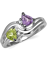 Natural Amethyst, Arizona Peridot & White Topaz Gold Plated 925 Sterling Silver 3-Line Ring