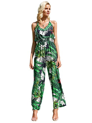 Green Tropical Print (Simplee Women's Sexy Halter Backless High Waist Floral Print Chiffon Jumpsuit)