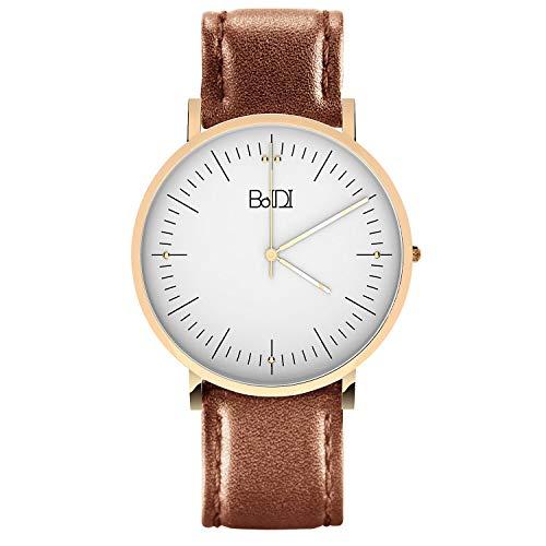 BaIDI Womens Watches Women Wrist Watch Waterproof Analog Watch with Second Hand & Brown Leather Quartz Watches for Women, Ladies, Female