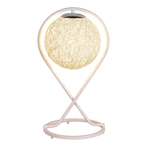 FMEZY Table Lamp Bedside Lamp Simple Modern Romantic Rattan Art Ball Lampshade - Bedroom Living Room Decoration Gift Table Light E27-Button Switch (Color : Yellow) ()