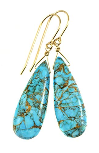 14k Yellow Gold Blue Turquoise Earrings Long Coppery Mosaic Veining Dangle Narrow Teardrops Smooth Drops ()