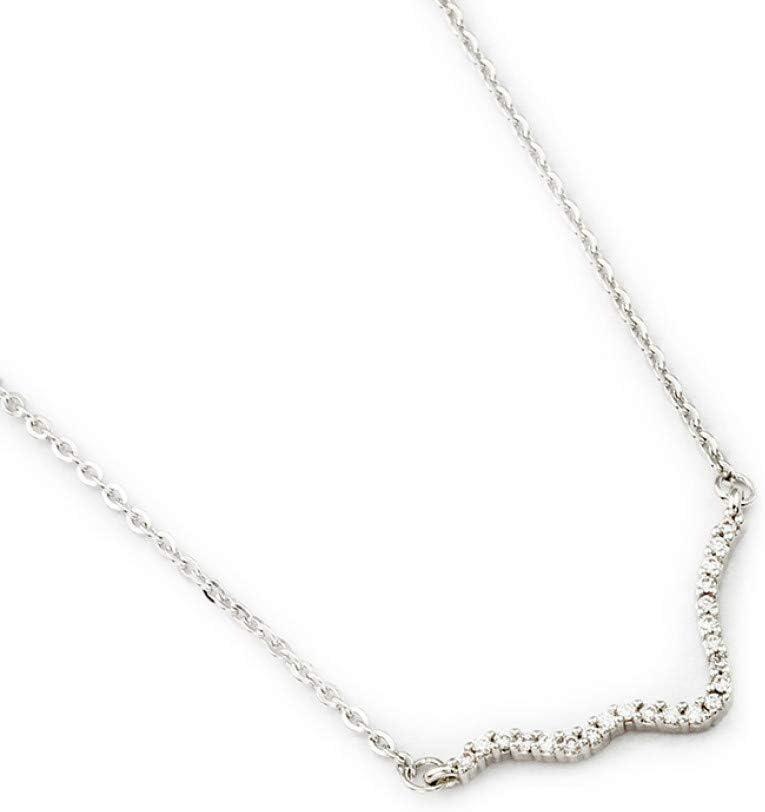 Collar FyaWTM, Joyas Colgante Moda de Verano Zigzag Crystal Wave Collar Romántico Amor Electrocardiograma Pulsera Encanto Latido del corazón Colgante Collar Joyería de Las Mujeres