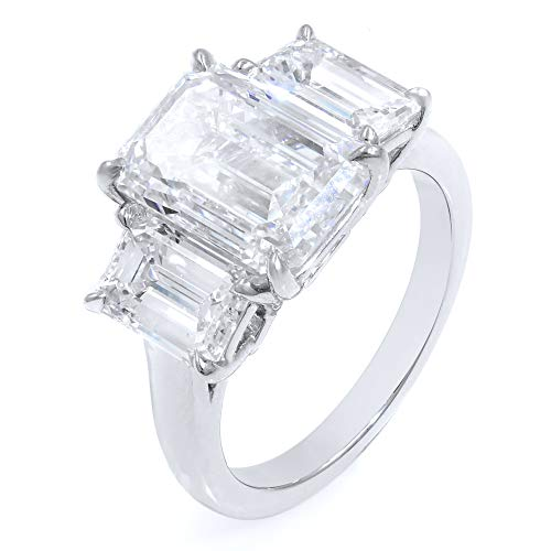 (GJ inc Three Stone Emerald Cut Diamond Engagement Ring in Platinum 6.15cttw)