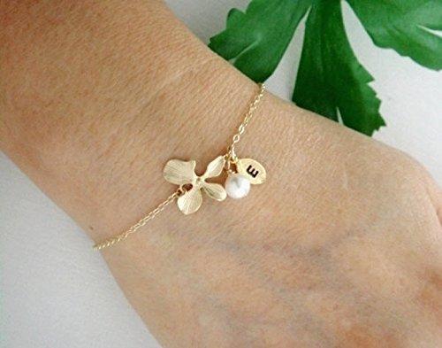 Gold or Silver Initial Orchid Bracelet / Small Leaf Charm Bracelet, Pearl or Gemstone Bracelet / Dainty Mothers Bracelet, Bridesmaid Gift
