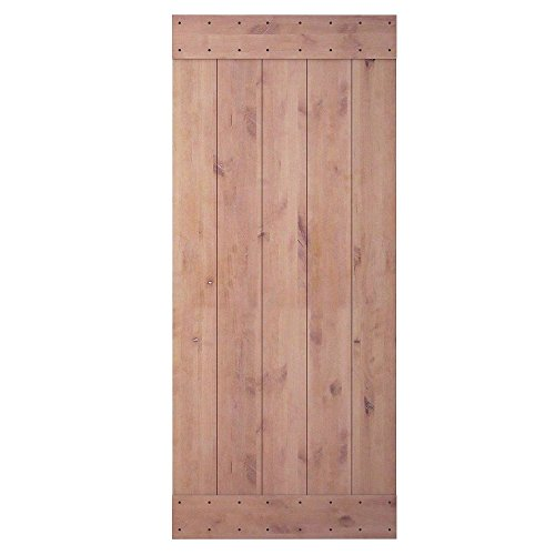 36in 84in Natural Knotty Alder Shiny Interior Sliding Barn Door Slab(Disassembled&Pre-grooved),2 Bars