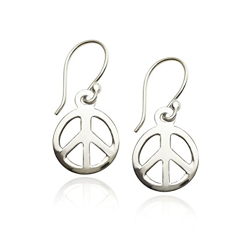 - 925 Sterling Silver Peace-sign Dangle Earrings Silver