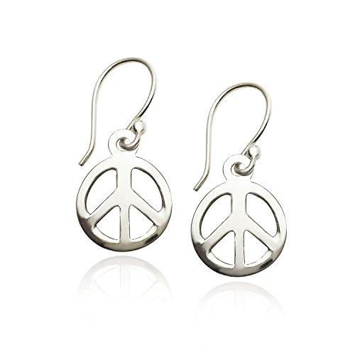 925 Sterling Silver Peace-sign Dangle Earrings ()
