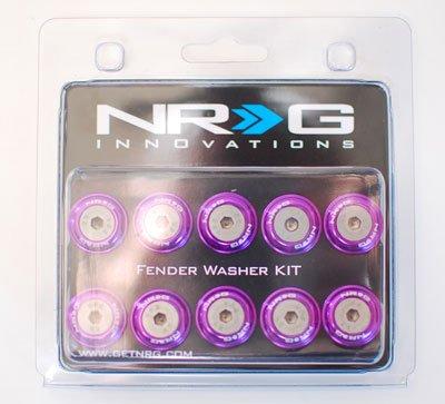 NRG Aluminum (Purple) Fender Washer Kit 10mm 10pcs Set