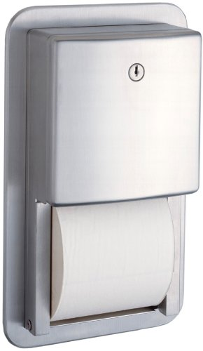 Bobrick 4388 Stainless Steel Recessed Multi-Roll Toilet Tissue Dispenser, Satin Finish, 7-9/16'' Width x 12-1/2'' Height by Bobrick
