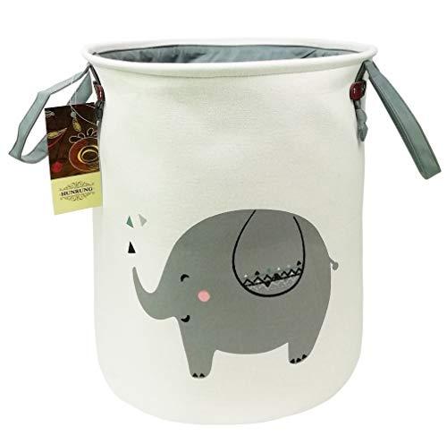 HUNRUNG Large Size Laundry Happer,Organizer Basket,Round Gift Baskets,Folding Cotton Fabric Bag for Baby Nursery,Toys,Playroom(Elephant