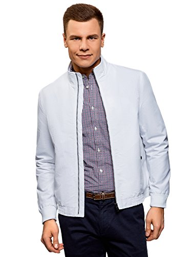 oodji Ultra Men's Stand Collar Zipper Windbreaker, White, US 40 / EU 50 / M