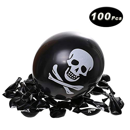 12 Inches Halloween Balloon Skull Print Balloon, Party/Home Decoration, Pack of 100]()