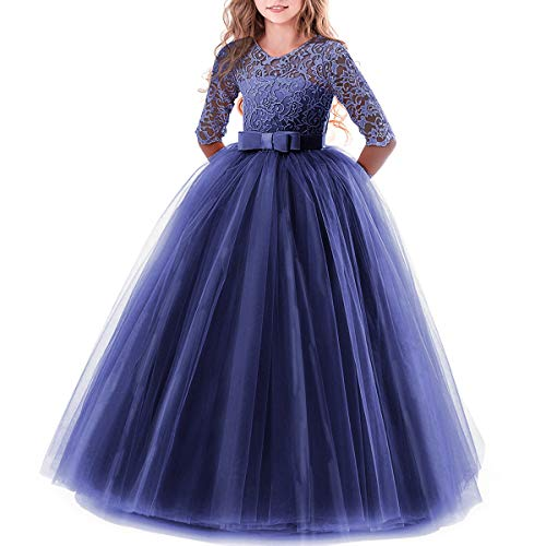 IBTOM CASTLE Spring Flower Girl Wedding Bridesmaid 3/4 Sleeves Kids Floral Lace Pageant Communion Princess Dress Prom Evening Dance Gown Navy Blue 5-6 ()