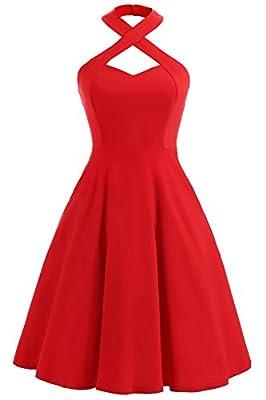 Gigileer Women's 1950s Vintage Womens Crisscross Halter Neck Swing Dresses