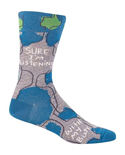 Blue Q Men's Novelty Crew Socks - Sure I'm Listening (Mens Size 7-12) with Sock Ring