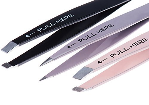 (Precision Tweezers Set 3 Piece: Pointed, Slanted, and Flat with Silicone Tip Covers, Case, and Compact Mirror for Superb Grip and Skin Pinch-Free Use By)