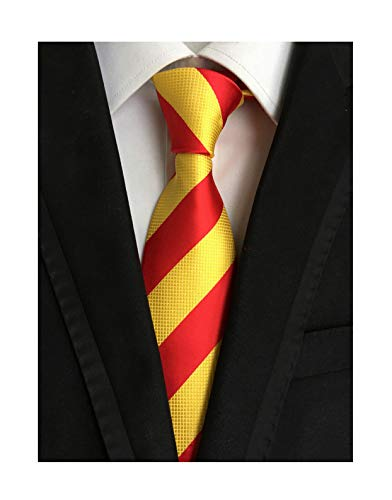 Secdtie Men's Red Yellow Striped Jacquard Woven Silk Tie Formal Necktie LUD31