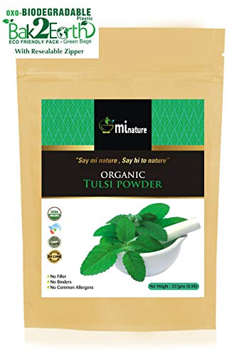 Organic Tulsi Leaves Powder (Ocimum Sanctum) by mi nature - 227 g / 8 OZ / 1/2 lb | USDA NOP Certified 100% Organic | Vegan | Non GMO, Eco ()