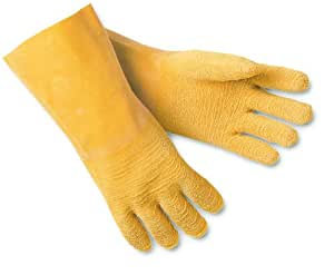 MCR Safety 6845 Tufftex Rubber Crinkle Finish Interlock Lined Men's Gloves with 12-Inch Gauntlet, Natural, Large, 1-Pair