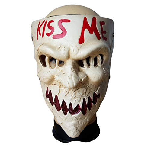 The Purge Kiss me Resin Mask Horror Game Scary Joker Mask for Halloween Masquerade Party Festival Club -