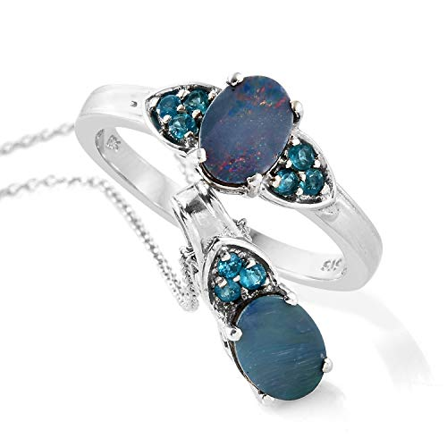 925 Sterling Silver Platinum Plated Oval Opal, Neon Apatite Ring Size 9 Pendant Set with Chain (Apatite Pendant Set)