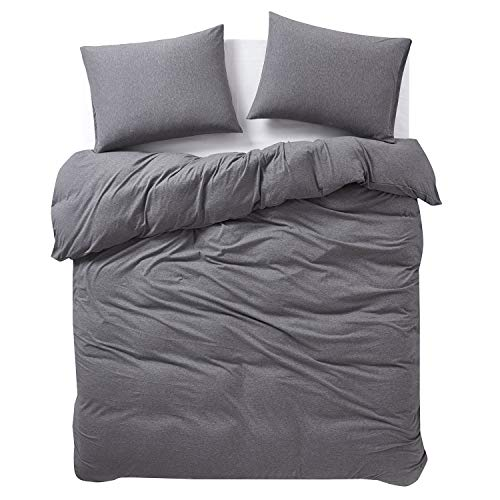 Wake In Cloud - Jersey Cotton Duvet Cover Set, Gray Grey Top Dyed Fabric in Plain Solid Color, Comfy and Soft Bedding with Zipper Closure (3pcs, Full Size)