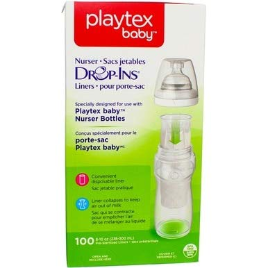Playtex Nurser Drop-Ins Liners, 100 Eight Ounce Disposable Liners each (Pack of 6)