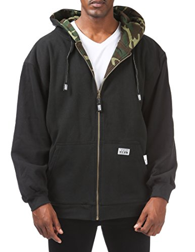 (Pro Club Men's Full Zip Reversible Fleece and Thermal Hoodie, Medium, Black/Green Camo)